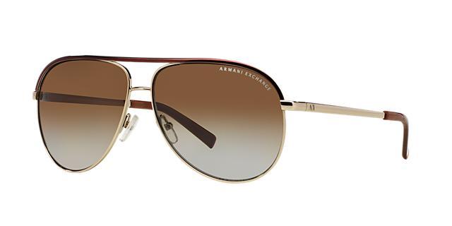 Image of Armani Exchange Gold Aviator Sunglasses, Polarized - ax2002
