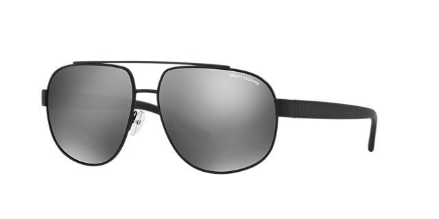 Image of Armani Exchange Black Matte Aviator Sunglasses - ax2019s