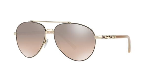 Image of Burberry 58 Gold Aviator Sunglasses - be3089
