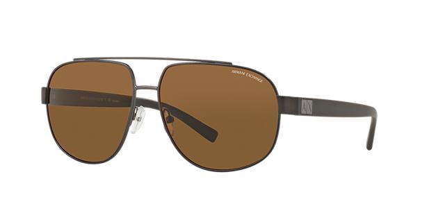 Image of Armani Exchange Gunmetal Matte Aviator Sunglasses - ax2019s