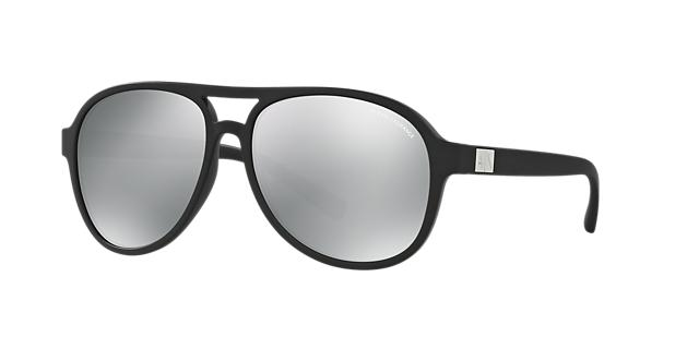 Image of Armani Exchange Black Matte Aviator Sunglasses - ax4055s