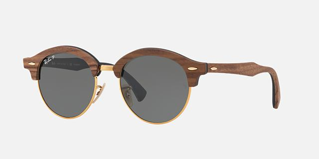 ray ban rb4246m 51 clubround wood 34800 - Wood Frame Sunglasses